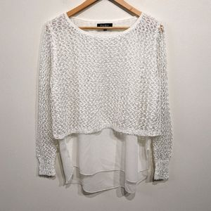 Papillon  White Open Knit Layered Top